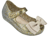 Melissa Kids gold jelly sandals with bow
