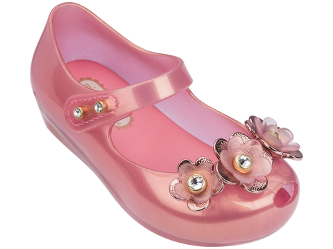 Mini Melissa babies pink jelly flats with 3 flowers