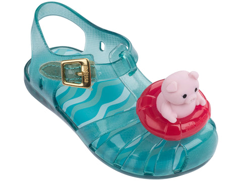 Melissa Kids blue jelly sandals with pig decoration
