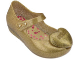 Melissa Kids gold jelly sandals with heart decoration
