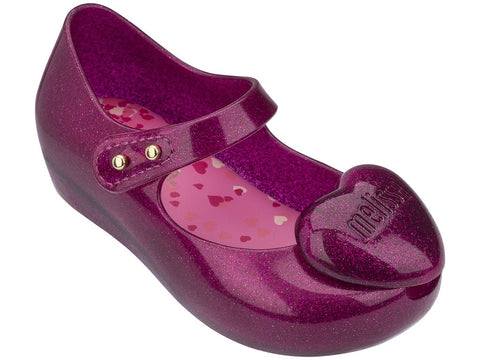Melissa Kids purple jelly sandals with heart decoration