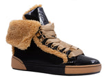 Recounter Women's Fashion Warm black and gold fluffy Short boots