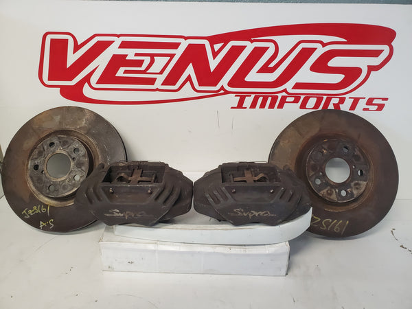 JDM Toyota Supra JZA80 OEM Front Big Brakes 4 Piston Brake Calipers and Rotors from 98-04 Aristo