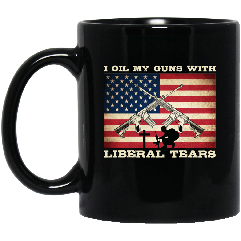 Veteran Mug Veteran Mug I Oil My Guns With Liberal Tears Veteran Back