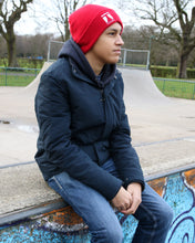 Tecabu Red Raised Cuff Beanie