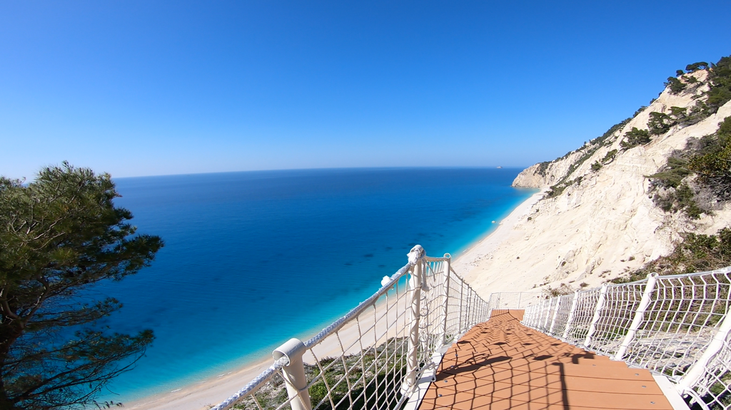 Egremni Egremni Beach Earthquake Egremni Beach Stairs - New Stairs - view  Lefkada Tours - Lefkada Dream Tours