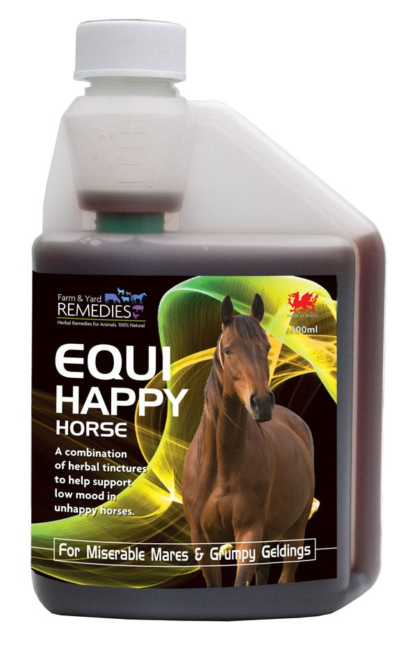 Farm and Yard Remedies Equi Happy Horse Mood Boost and General Wellbeing Support Herbal Supplement for Horses All Natural