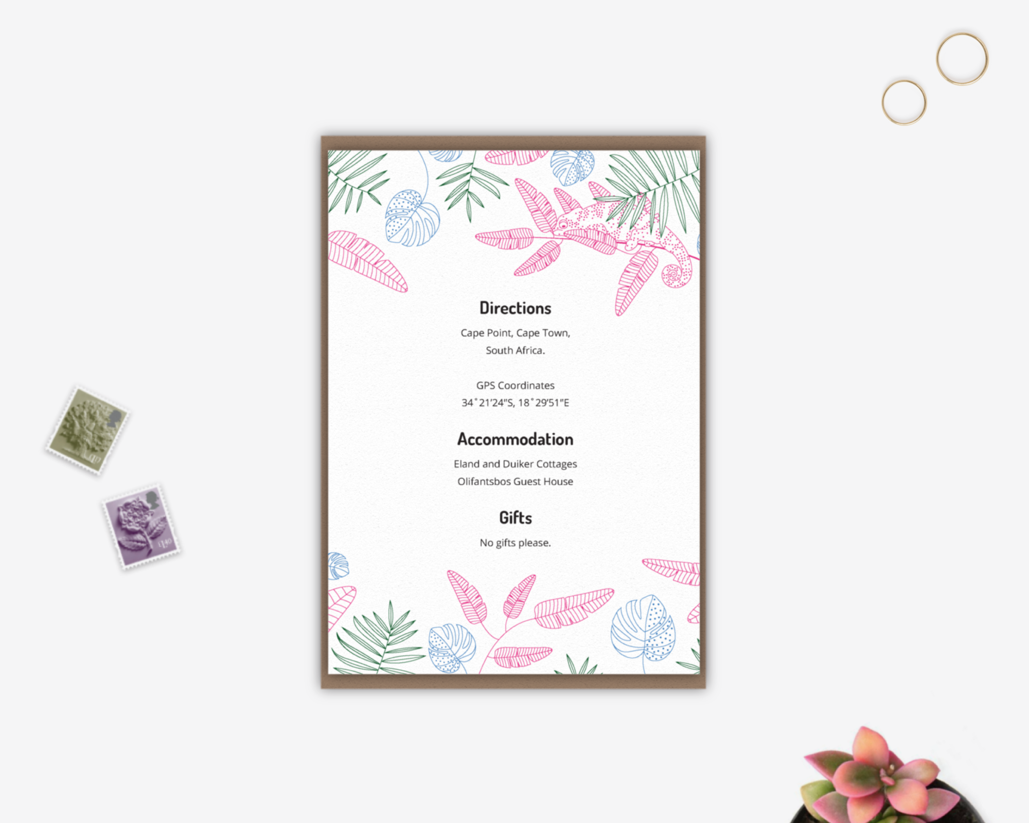 Tropical Wedding Details Card (Exclusively by Salt&Oag)