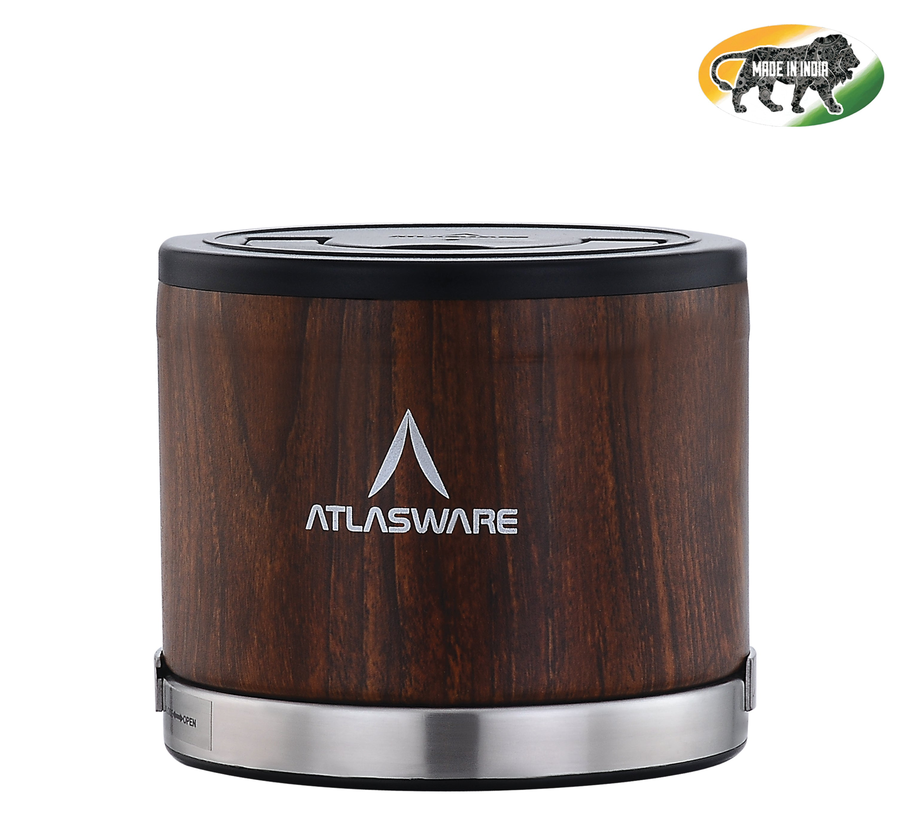 Atlasware Stainless Steel Wood Finish Insulated Lunch box 475ml (1 Container) Tiffin Box