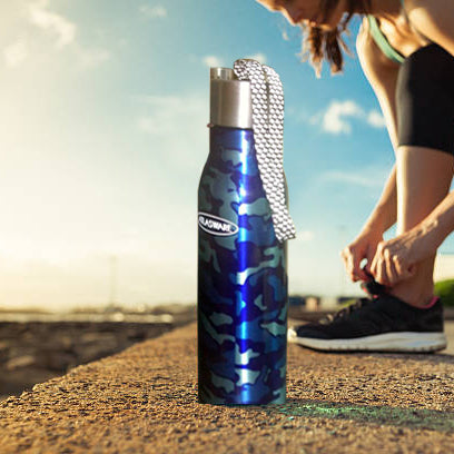 Stainless Steel Water Bottle - Blue Military