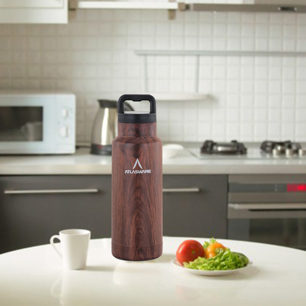 Stainless Steel Wood Finish Vacuum Handle Flask