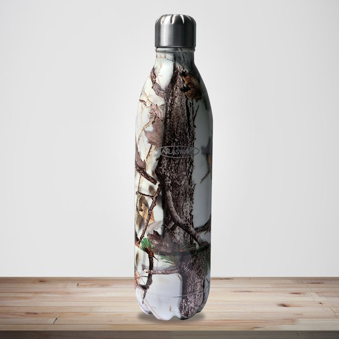 Stainless Steel Vacuum Bottle White Forest - Digital Finish