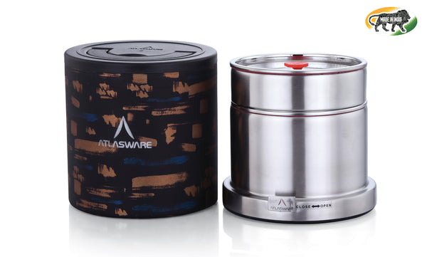 Atlasware Stainless Steel Abstract Gold Lunch box 725ml (2 Container)