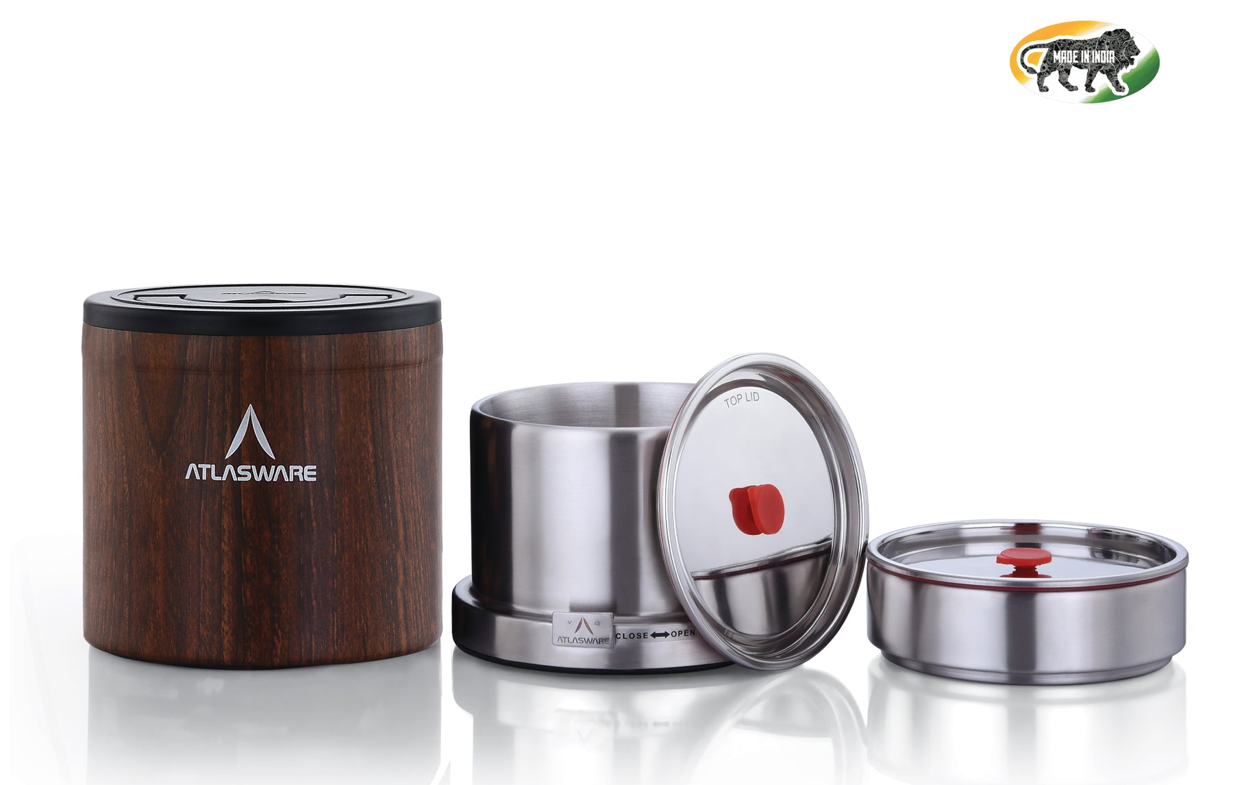 Atlasware Stainless Steel Wood Finish Lunch box 1000ml (3 Container)