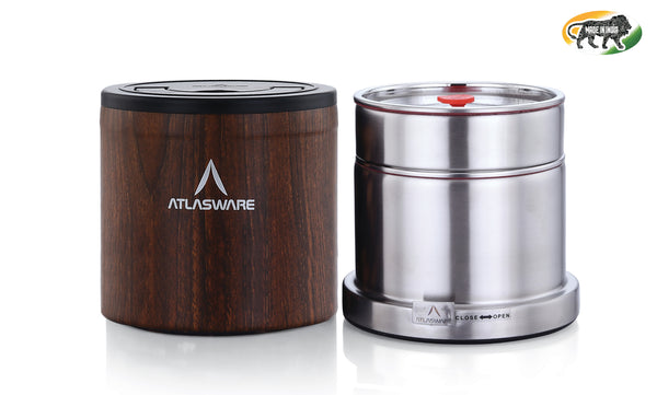 Atlasware Stainless Steel Wood Finish Insulated Lunch box 725ml (2 Container) Tiffin Box