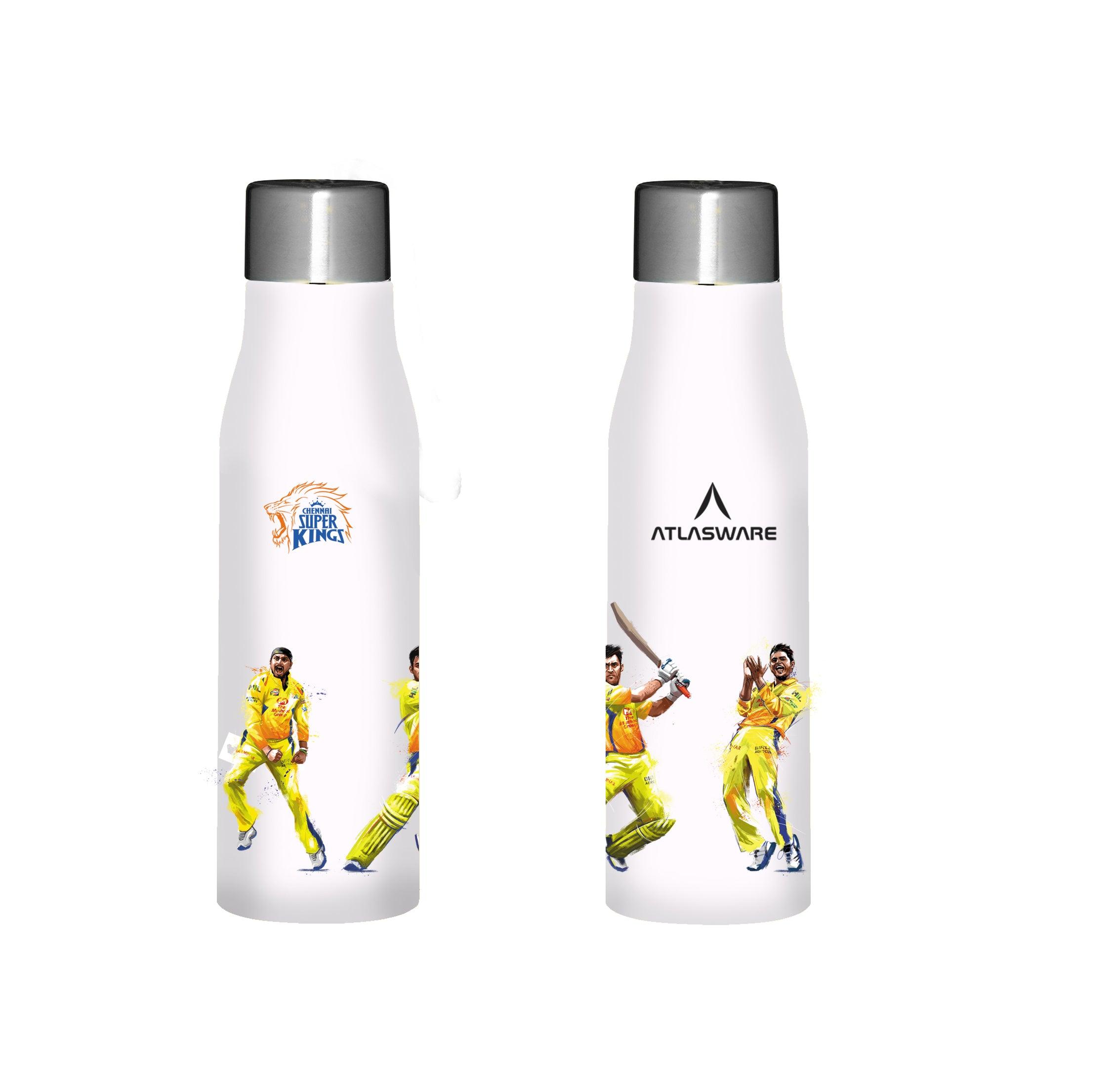 Chennai Super kings team stainless steel water bottle white