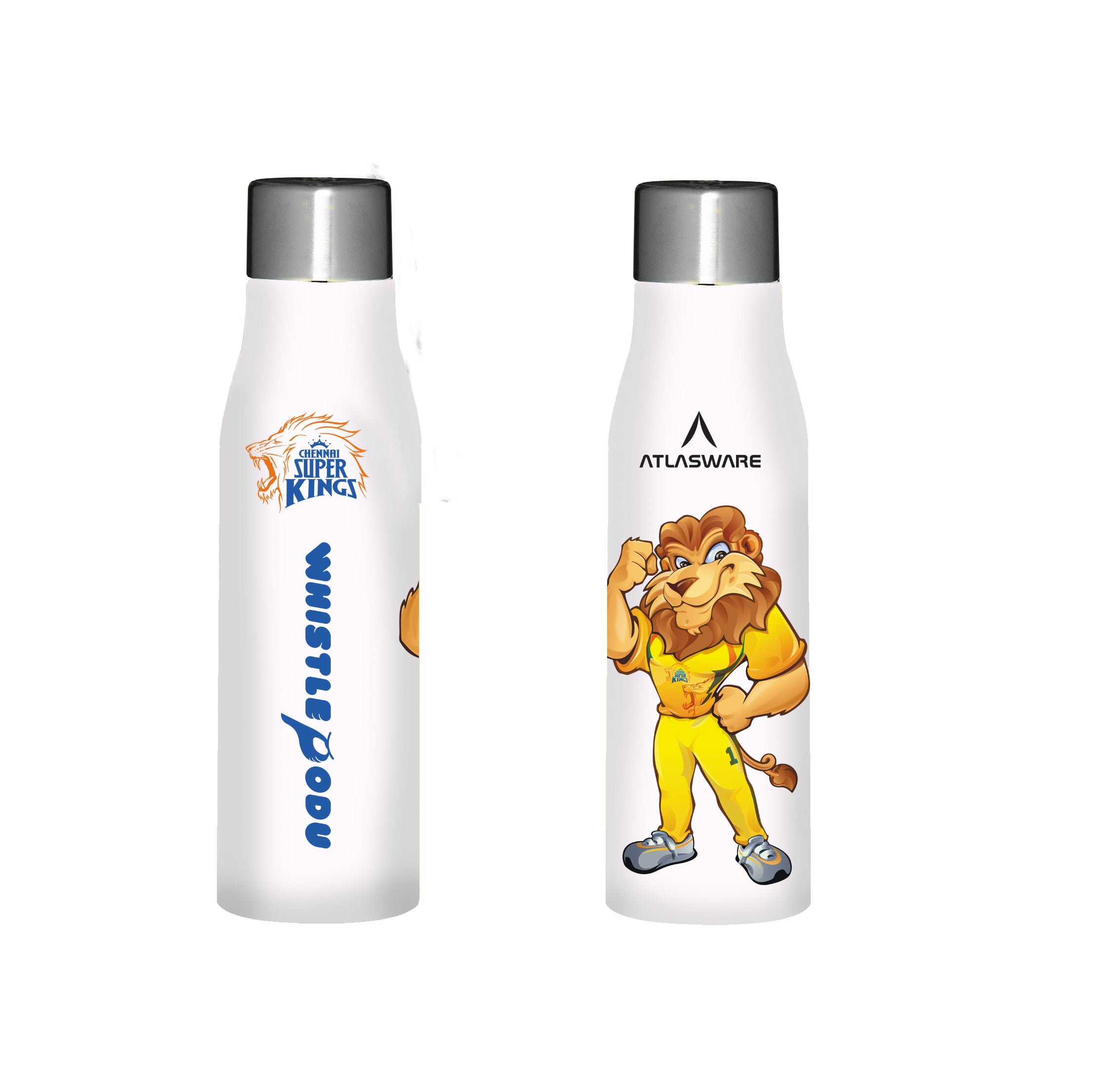 Chennai Super kings Leo designs stainless steel water bottle white