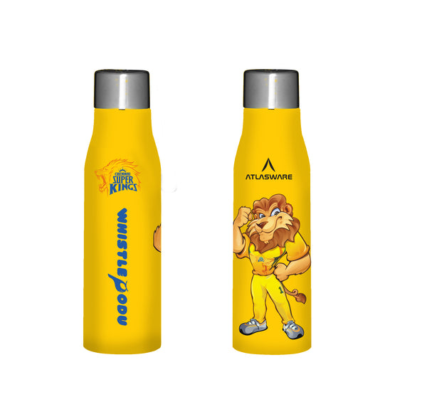 Chennai Super kings Leo designs stainless steel water bottle yellow