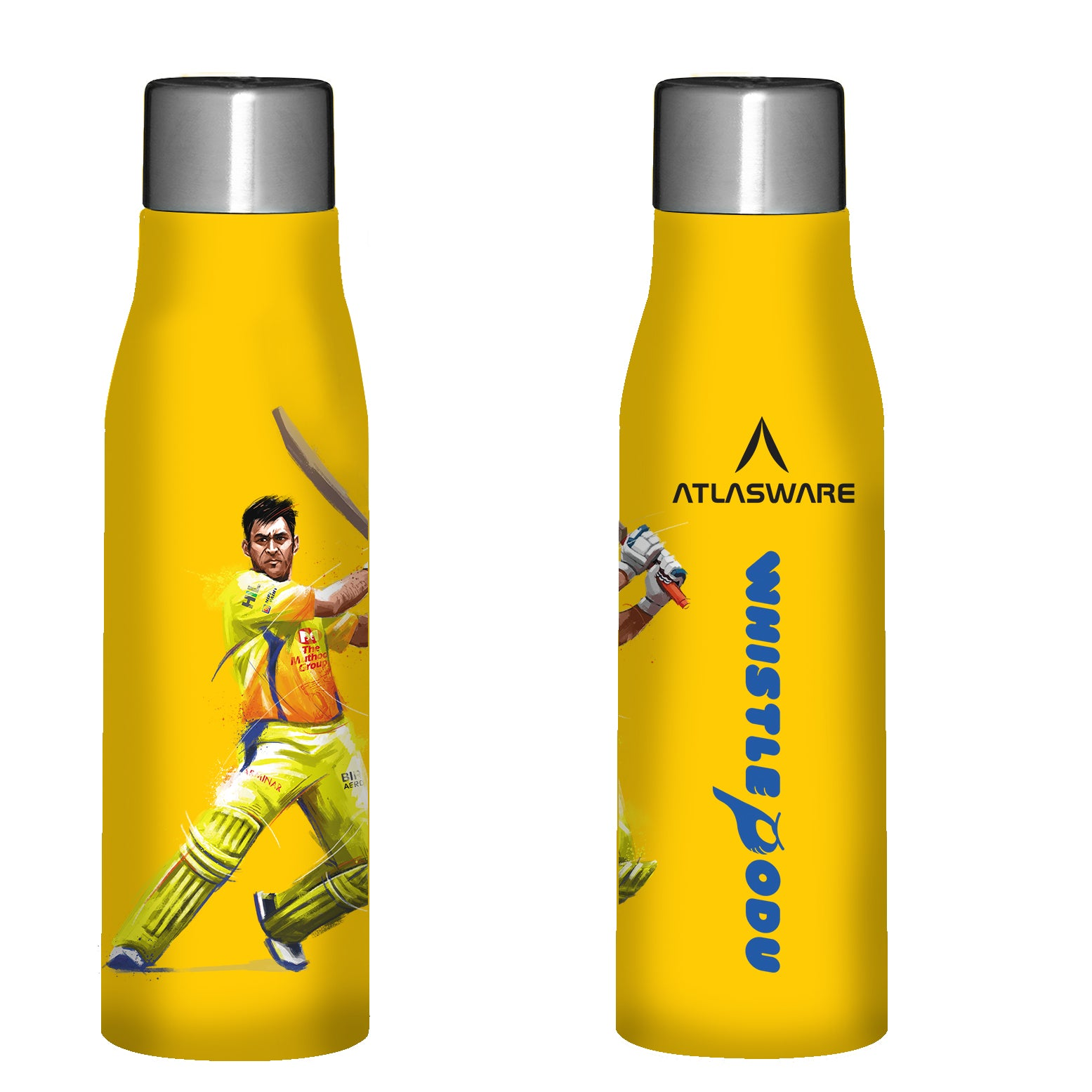 Chennai Super kings Whistle Podu stainless steel water bottle yellow