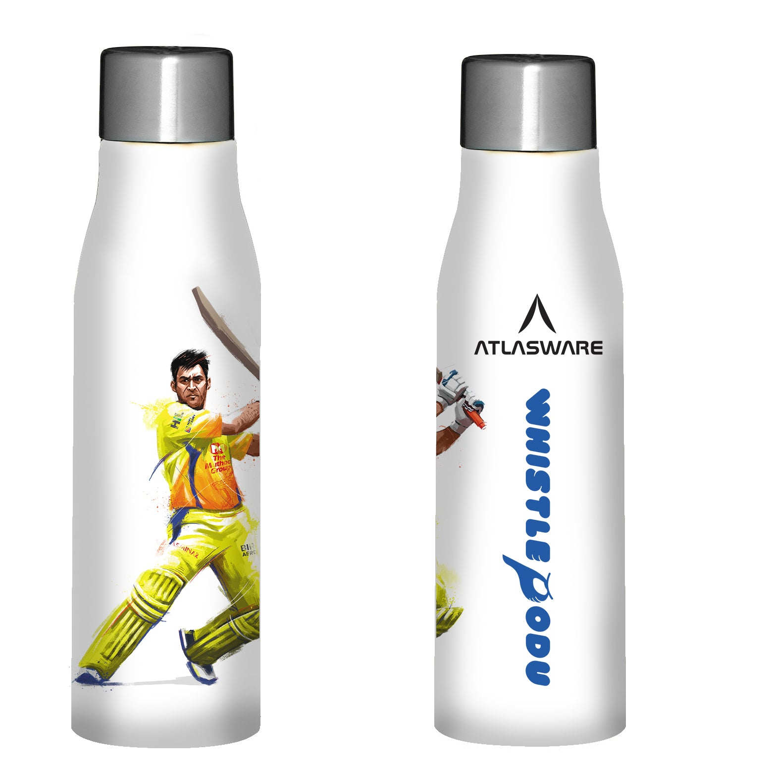 Chennai Super kings Whistle Podu stainless steel water bottle white
