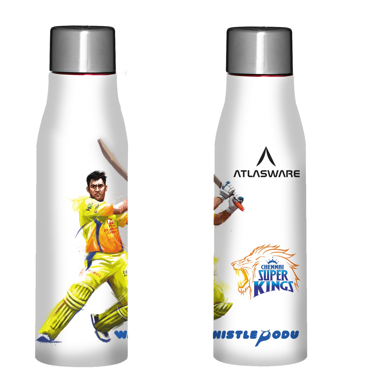 Chennai Super kings Thala shot stainless steel water bottle white