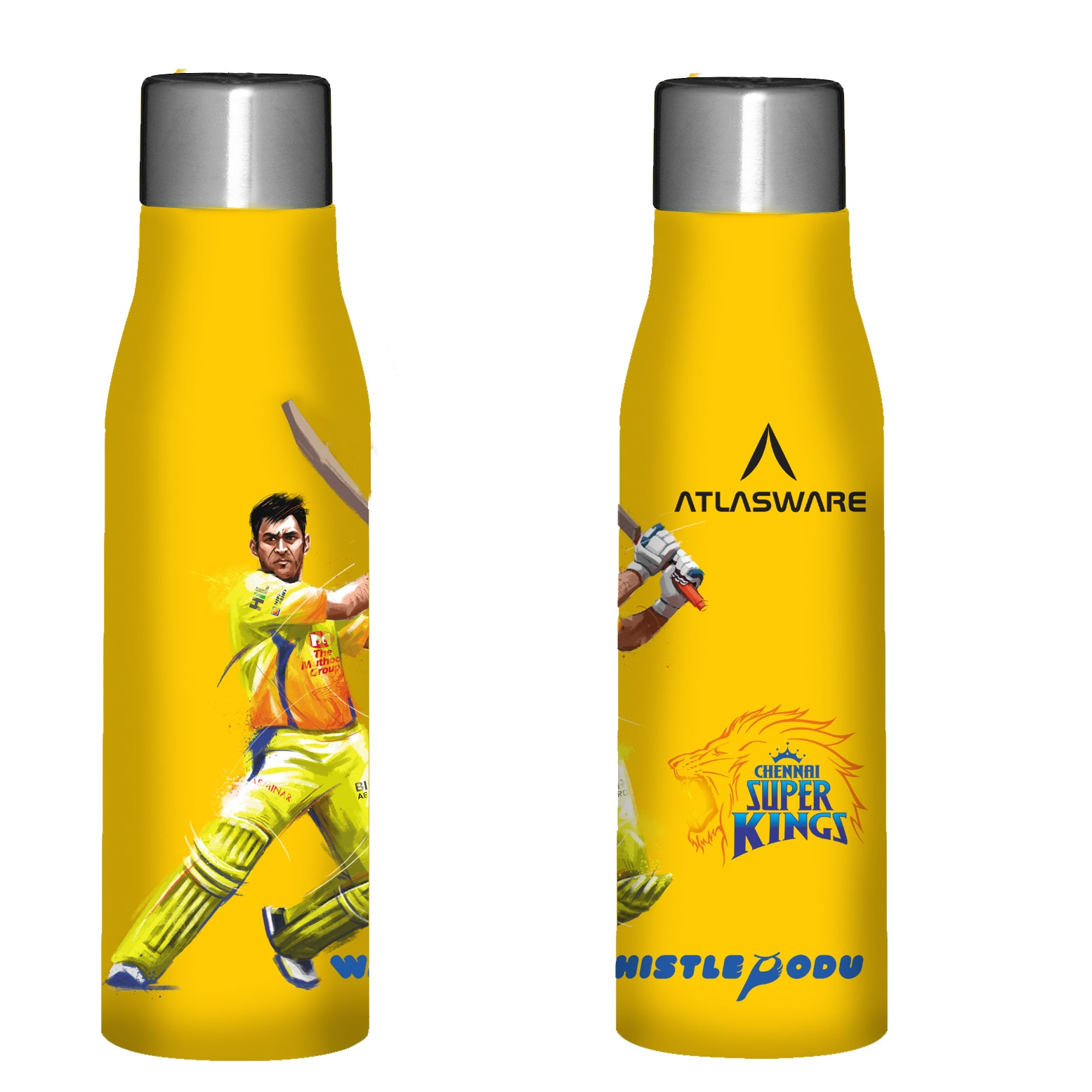 Chennai Super kings Thala shot stainless steel water bottle yellow