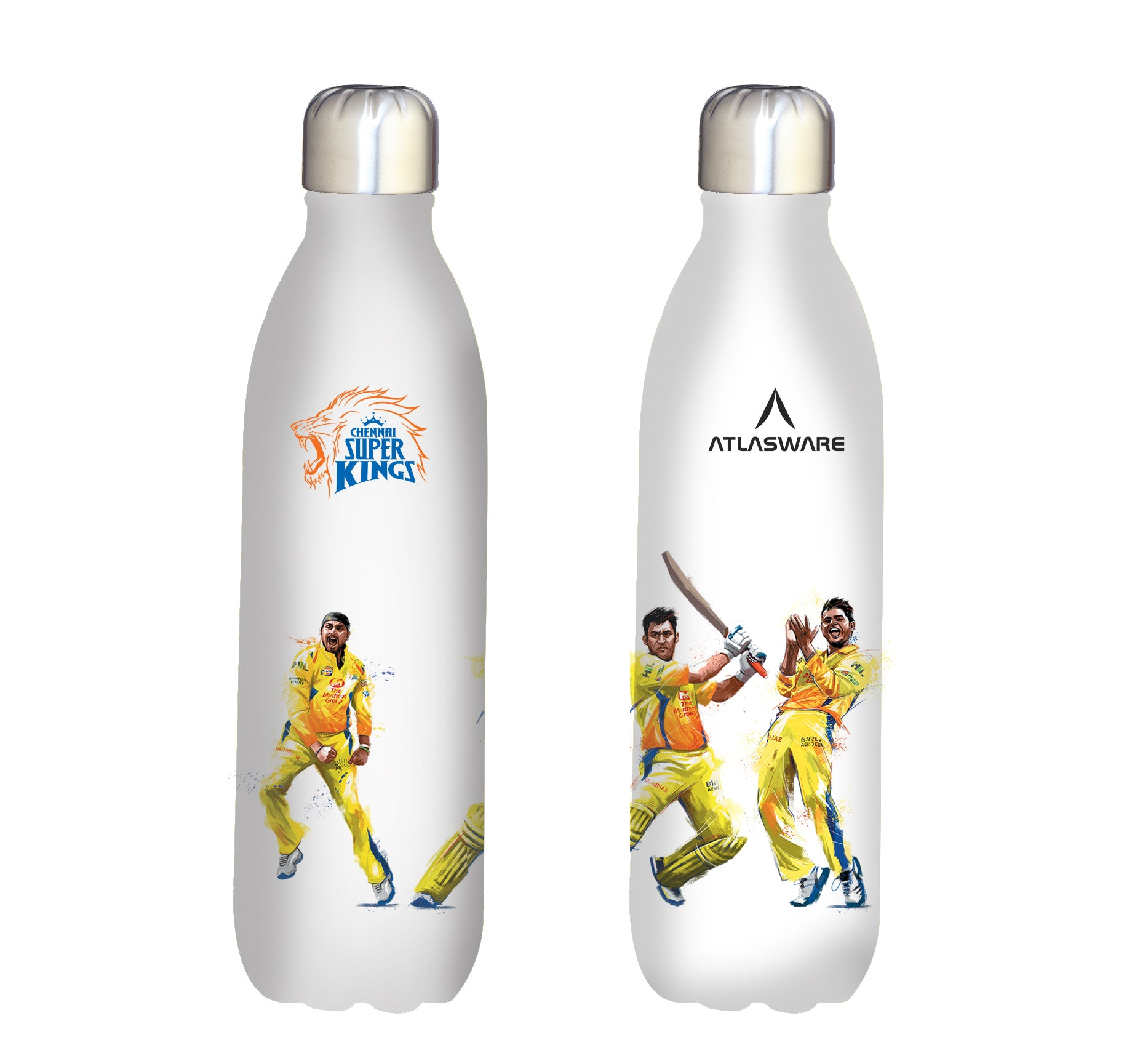 Chennai Super kings team stainless steel vacuum bottle white