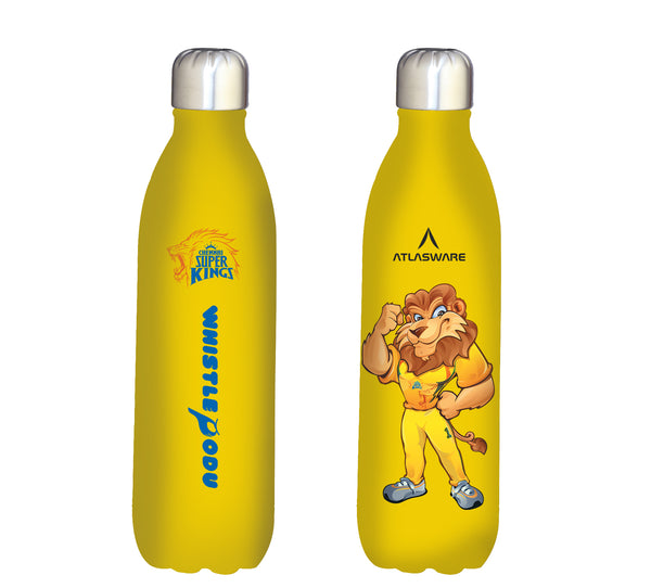 Chennai Super kings Leo designs stainless steel vacuum bottle yellow