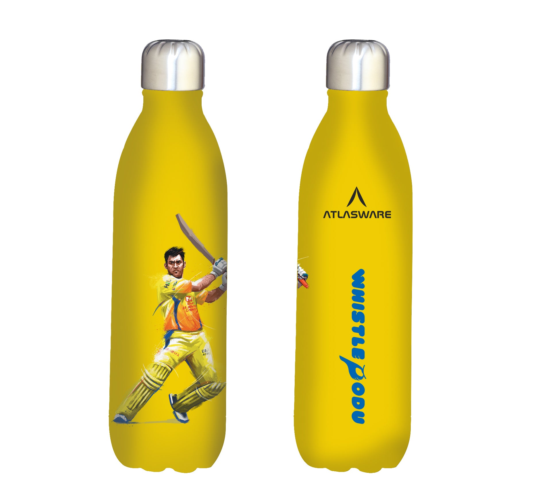 Chennai Super kings Whistle Podu stainless steel vacuum bottle yellow