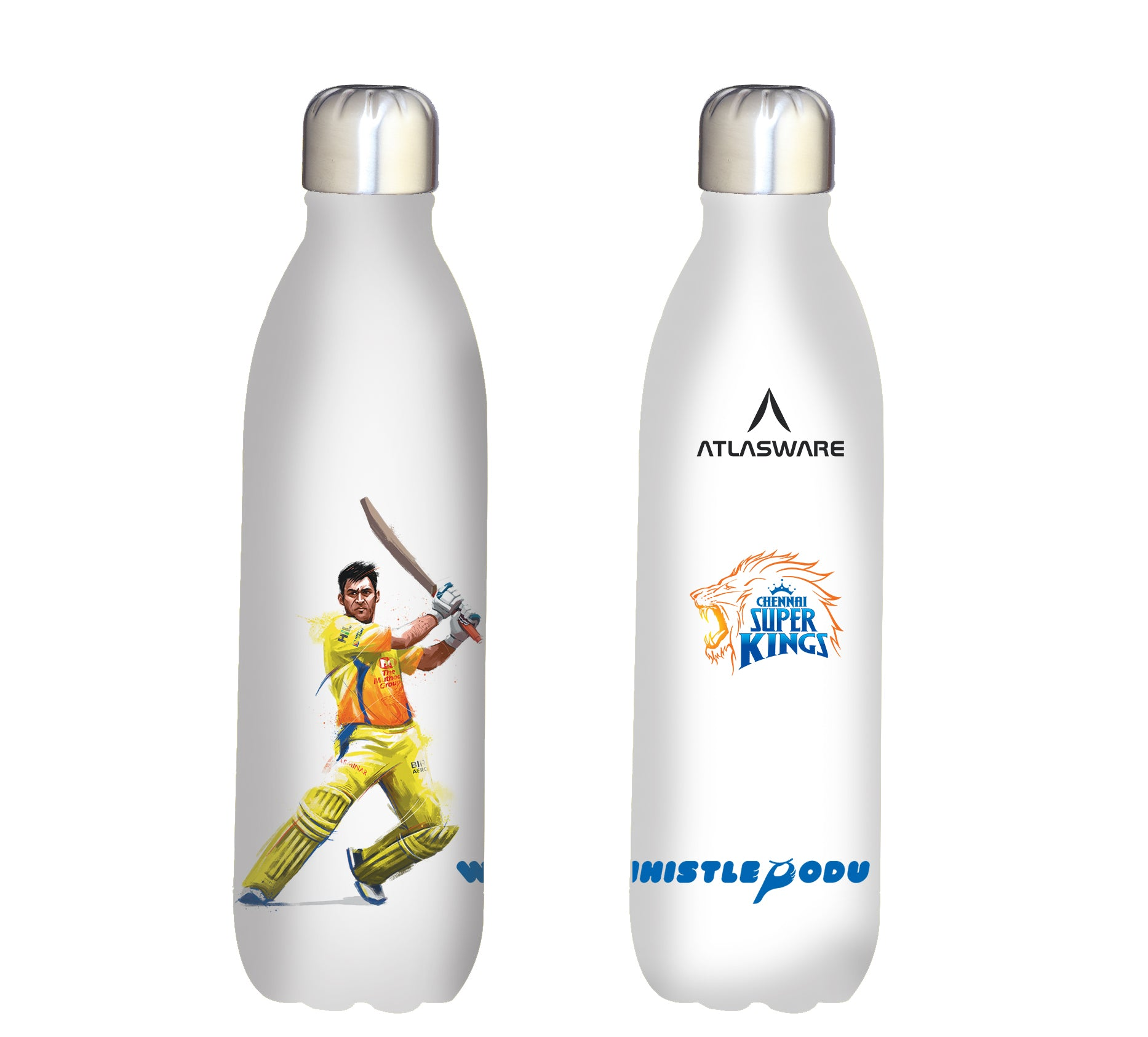 Chennai Super kings Thala shot stainless steel vacuum bottle white