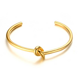 Golden love knot cuff bangle VALENTINA - Shop Fige