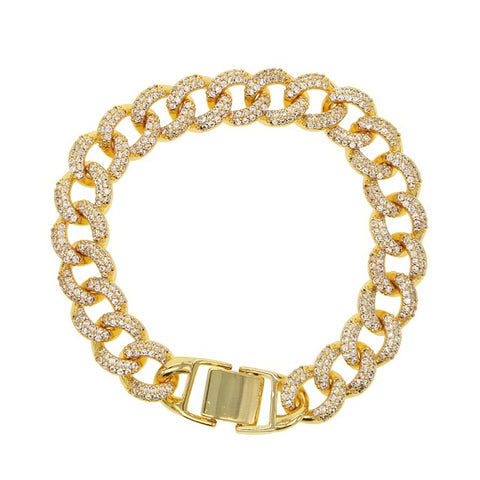 Cuban chain bracelet MARISA in gold - Shop Fige