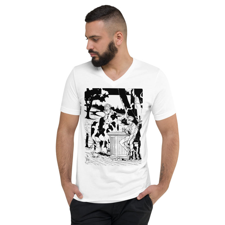 """Missing Will"" Unisex Short Sleeve V-Neck T-Shirt"