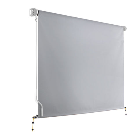 Instahut 3m x 2.5m Retractable Straight Drop Roll Down Awning - Grey