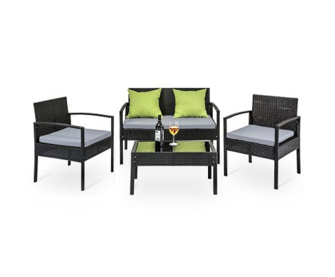 4 Seater Sofa Set Outdoor Furniture Lounge Setting Wicker Chairs Table Rattan Lounger Patio