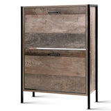 Artiss 12 Pair Wooden Vintage Shoe Rack Storage Cabinet - Wood