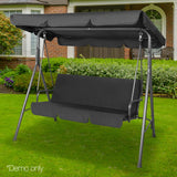 Gardeon 3 Seater Outdoor Canopy Swing Chair - Black