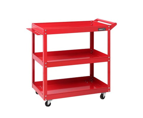 Giantz Tool Cart 3 Tier Parts Steel Trolley Mechanic Storage Organizer Red