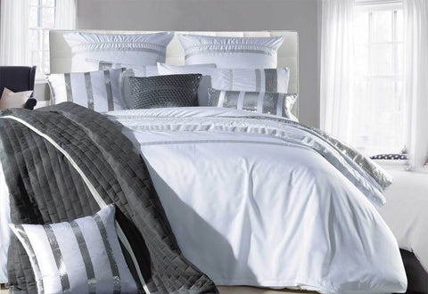 Queen Size White Striped Sequins Quilt Cover Set(3PCS)
