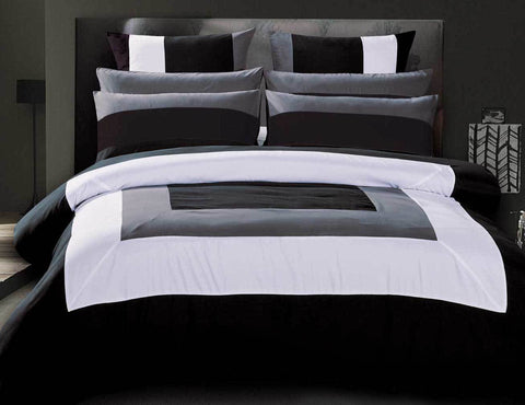 Queen Size Black Grey White Quilt Cover Set(3PCS)