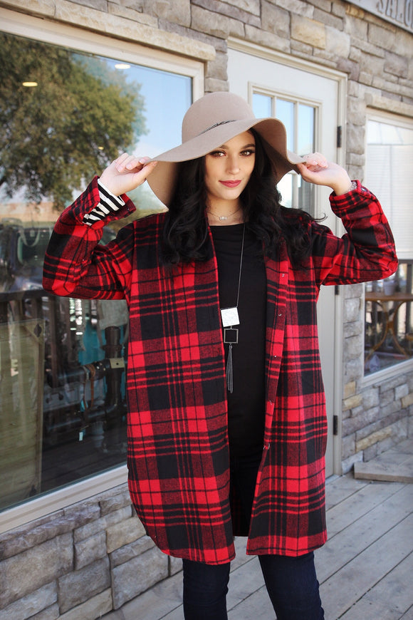 RED | Flannel Plaid | Shirt Jacket