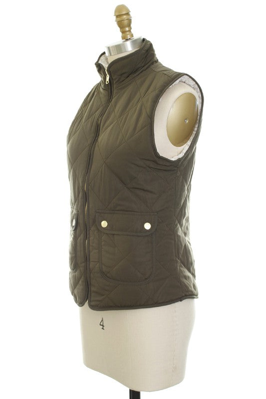 Reversible Quilted Vest | Olive