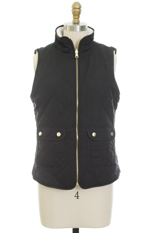 Reversible Quilted Vest | Black