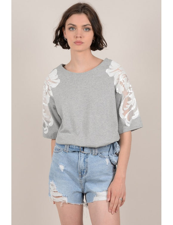 Lace Shoulder Tee