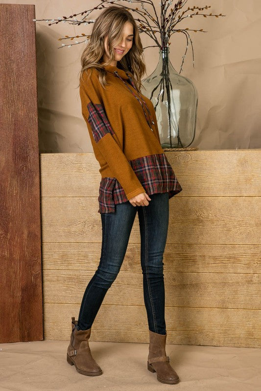Plaid Color Block Cowl Neck Sweater Top