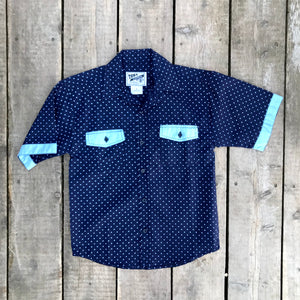 TWEEN BOYS | Navy Star Print Button Up Polo