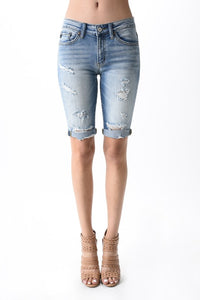 KanCan | Womens | Distressed Bermuda