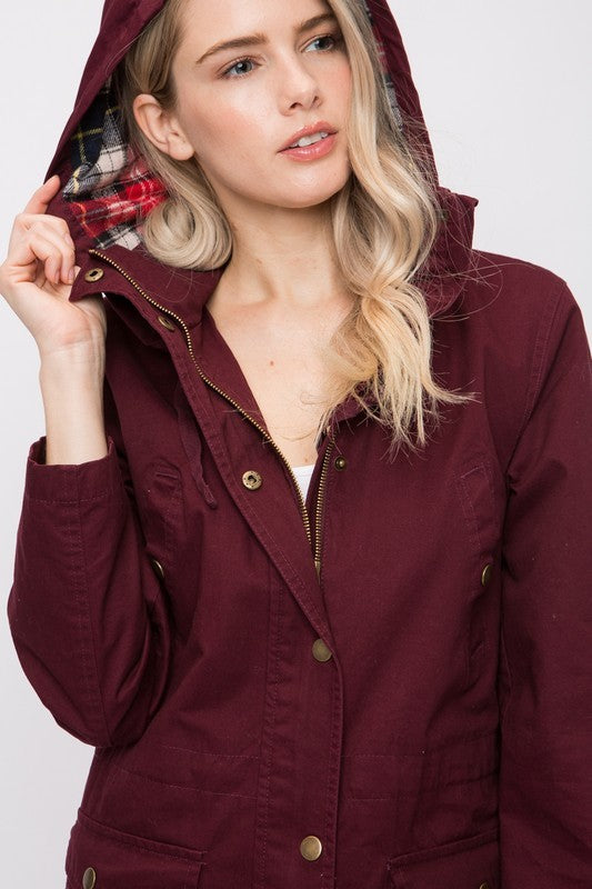 Wine - Plaid Detail Hooded Jacket
