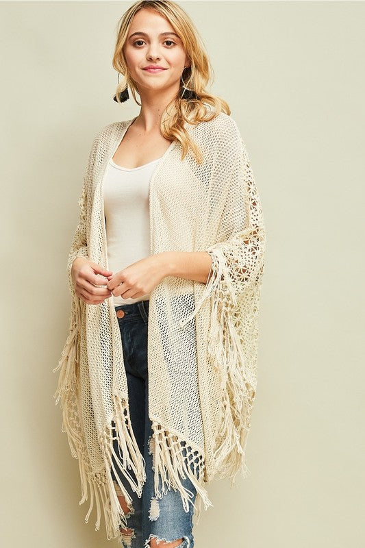 IVORY Crochet Loose Knit Poncho