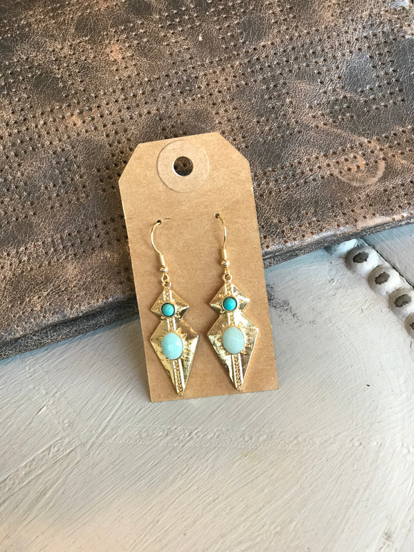 Antique Gold with Teal Pearl Accents Earrings